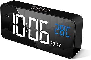 HOMVILLA Reloj Despertador Digital con Pantalla LED de Temperatura, Alarma de Espejo Portátil con Alarma Doble Tiempo de R...
