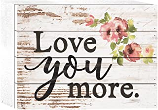 P. Graham Dunn Love You More Watercolor Floral Whitewash 8 x 6 Solid Wood Boxed Pallet Plaque Sign