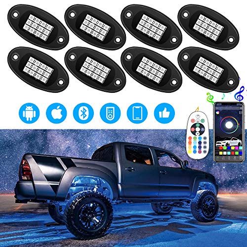 ROCCS 8Pcs RGB LED Rock Light Multicolor Neon LED Light Kit with Bluetooth Wireless Remote Control for Jeep Off Road Car Truck Underbody Vehicle Tail Glow Lamp