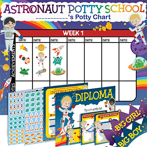 Potty Training Chart for Toddlers - Space Design - Sticker Chart - 4Week Reward Chart, 234 Cool Stickers, Certificate, Instruction Booklet & Motivational Cards - Bonus Celebratory Crown