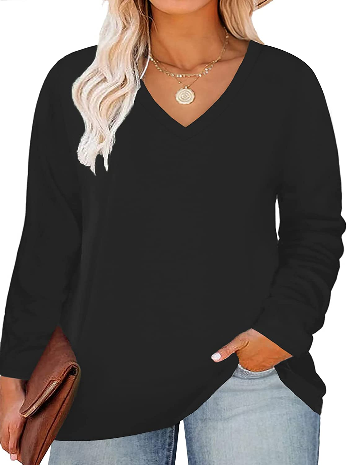 ROSRISS Plus Size New arrival Tops for Women Sleeve Spring new work Neck V Long Tees Tunics