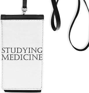 DIYthinkerShort Phrase Studying Medicine Phone Wallet Purse Hanging Mobile Pouch Black Pocket