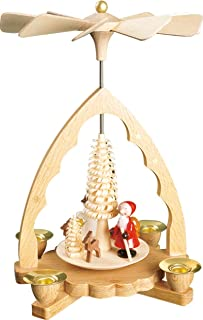 Pinnacle Peak Trading Company Forest Santa with Deer German Christmas Pyramid Made in Germany Carousel 7 inch