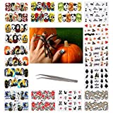 AirSMall 96 Sheets Halloween Nail Stickers Day of the Dead Water Transfer Nail Decals Skull...