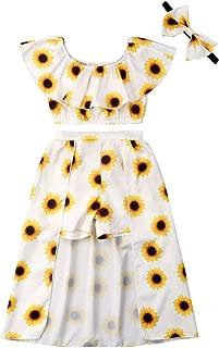 3PCs Toddler Kid Girl Sunflower Print Off Shoulder Crop Top + Pant Skirt + Bowknot Headband