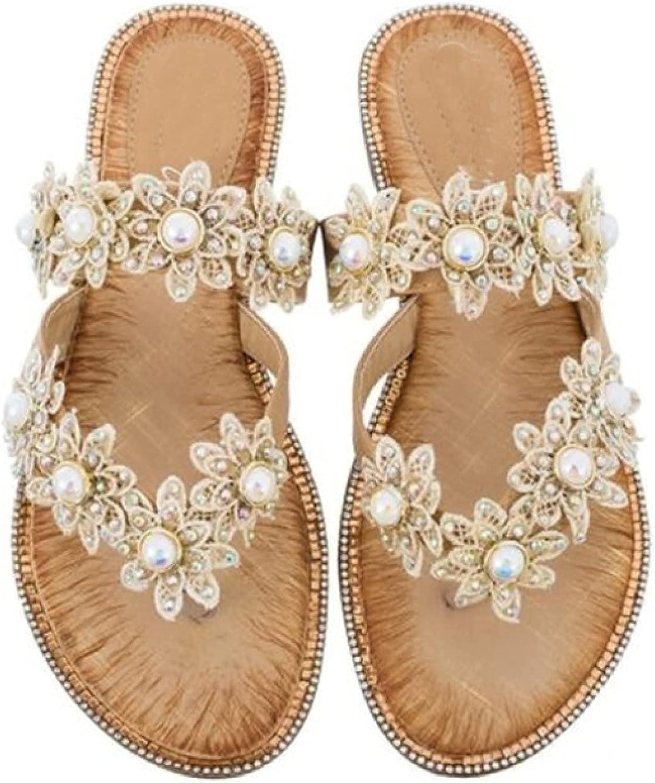 Summer Slippers for Women Flower Pearl Flats Outdoor Comfortable Slide Sandals Girls Ladies Casual Beach Flip Flops