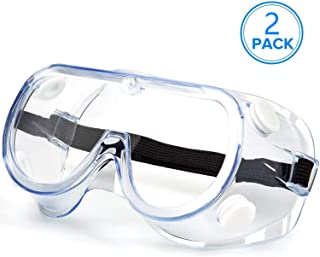 FITTOP Safety Goggles, 2 PCS Clear Protective Goggles, Safety Goggles Laboratory With Ventilation Valve, Mechanic Safety Goggles Anti-Fog Scratch-Proof Lenses Flexible Shockproof Frame