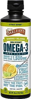Barlean's Seriously Delicious Omega-3 High Potency Fish Oil, Citrus Sorbet, 16-oz