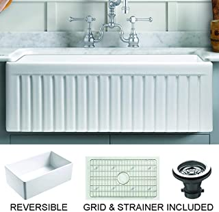 Empire Industries SP33SG Sutton Place Reversible Farmhouse Fireclay Kitchen Sink with Grid and Strainer, 33