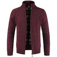 Daoroka Mens Jacket Men's Autumn Winter Zipper Outwear Tops Solid Stand Collar Sweater Cardigan...