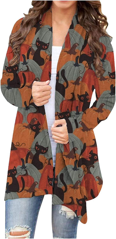 FORUU Halloween Cardigan 2021,Open Front Cardigan Sweaters for Women Animal Cat Pumpkin Print Coat Kimono Cardigan