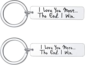 Husband Wife Keychain Gifts for Him Her, I Love You More Most Personalized Couple Key Ring for Dad Mom Son Daughter, 2 Set Engraved Jewelry Birthday Anniversary Valentine's Day Gifts by Vallgox
