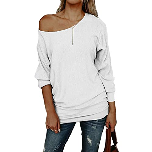 0e65270d64f8f ABD Women s Off Shoulder Sweater Batwings Sleeve Loose Oversized Pullover  Knit Jumper Tops