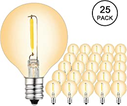 BRIMAX G40 LED Replacement Bulbs, E12 Globe Small Base Bulb for Patio String Lights, 5w/7w Equivalent, 1W 2200K Soft Romantic Environment for Wedding Cafe Bistro Lights (25pack)