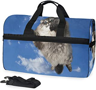 Mens Womens Duffle Bag Flying Fat Cat Casual Fashion Luggage Holdall Bag with Shoes Compartment 45L