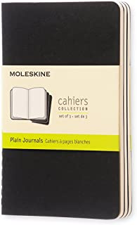 Moleskine S04916 Cahier Notebook- Set of 3- Plain- Pocket- Black, (QP313)