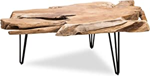 Edloe Finch Modern Solid Wood Live Edge Coffee Table Hairpin Steel Legs, Natural Teak