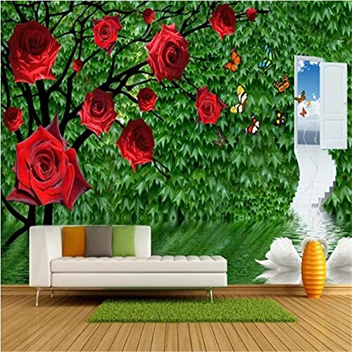 Guyuell Personality Custom Wallpapers 3D Stereoscopic Rose Photo Wall Murals Green Leaf Wallpaper Wall Papers for Living Room Home Decor-350X245Cm