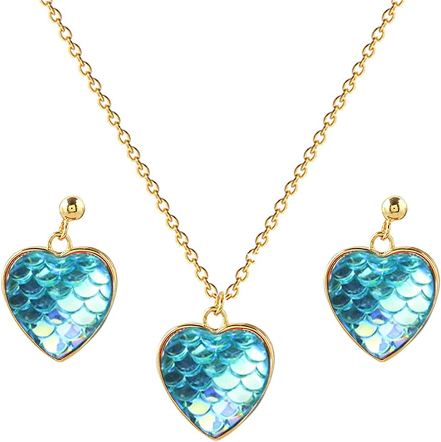 coadipress Mermaid Fish Scale Skin Sequin Necklace and Earrings Set for Women Girl Rainbow Color Changing Iridescent Shiny Charm Colorful Heart Earrings Jewelry Gift