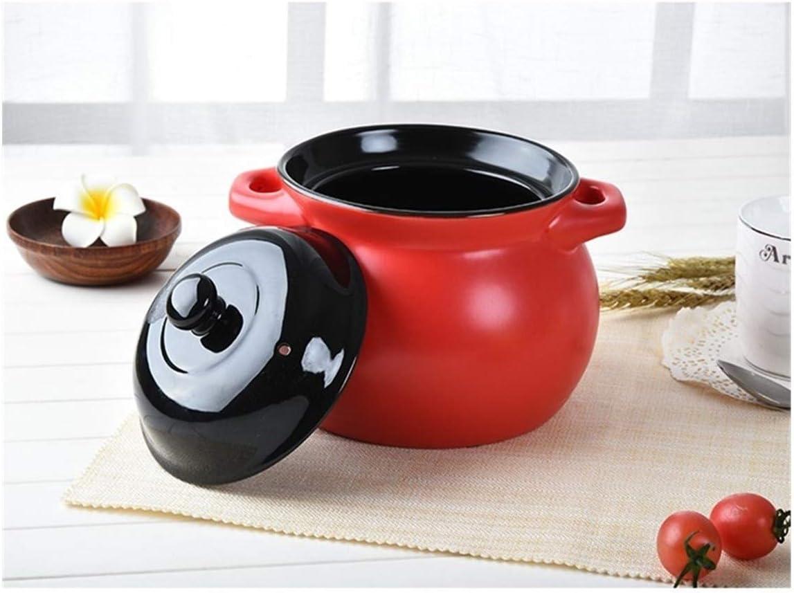 HEIFENGMUMA Crisp Casseroleceramic Cuisson Pot Ouvert à Soupe de Flamme résistant à Haute température Ishinabe claypot Cuisinier (Color : 3000ml Yellow) 3000ml Red