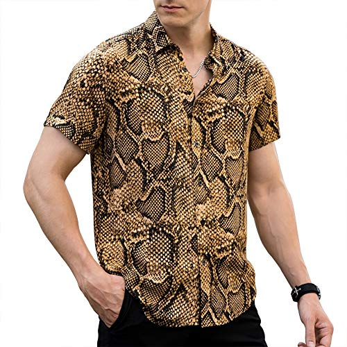 LOGEEYAR Men Shirt Leopard Snakeskin Print Button Down Short Sleeve Casual Shirt Yellow