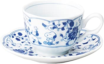 Kanesho Pottery Peanuts Snoopy Tea cup w/Saucer arabesque Pattern from Japan