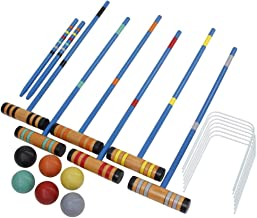 Bloodyrippa 6 Player Croquet Set for Kids, 6 Hard Wood Mallets(24 inch), 6 Colored Ball, 2 Stakes, 10 Wickets, Carrying Bag Included