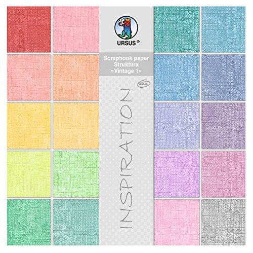 Ursus 80720099 - Scrapbook paper Block Struktura Vintage 1, ca. 30,5 x 30,5 cm, 20 Blatt sortiert in 20 Farben