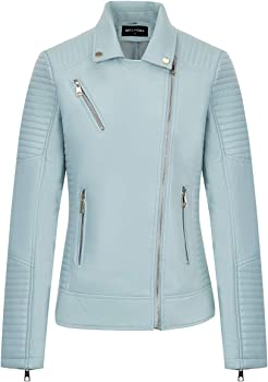 Bellivera Womens Faux Leather Jacket