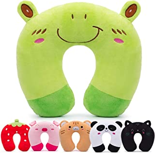 H HOMEWINS Travell Pillow for Kids Toddlers - Soft Neck Head Chin Support Pillow, Cute Animal, Comfortable in Any Sitting Position for Airplane, Car, Train, Machine Washable, Children Gifts (Frog)