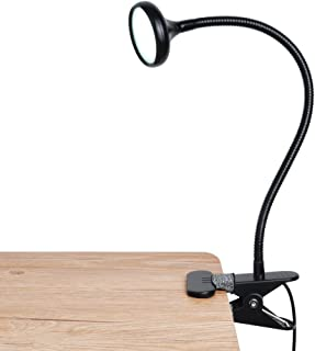LEPOWER LED Clip Light/Bed Light/Book Light, Reading Light with Gooseneck, Brightness & Color Changeable, Eyes-Caring Clamp on Light for Desk, Bed Headboard, Computer and Piano(Metal)-No AC Adapter