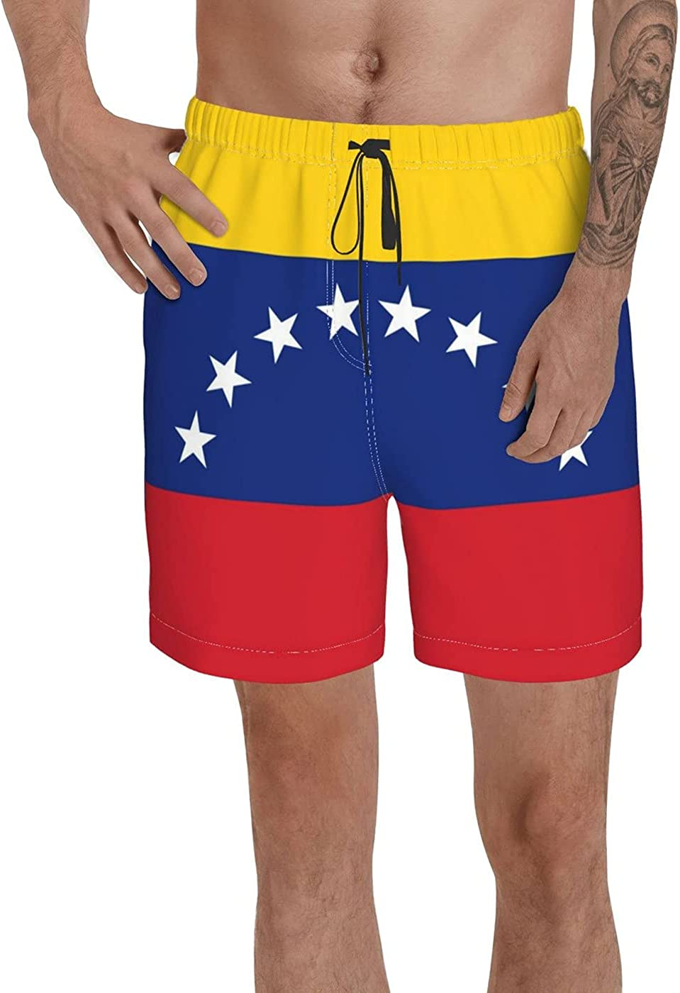 Count Venezuela 8 Stars Flag Men's 3D Printed Funny Summer Quick Dry Swim Short Board Shorts with