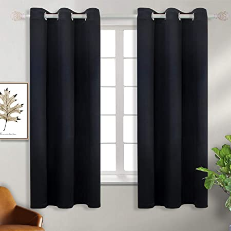 Eyelet Thermal Insulated Silver Star Print Room Darkening Curtains for Living Room BGment Kids Blackout Curtains for Bedroom W55 X L69 Inch, Brown 2 Panels