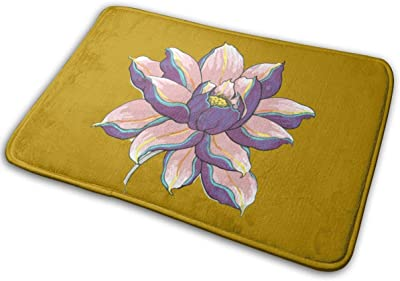 A Lotus Flower in Full Bloom Carpet Non-Slip Welcome Front Doormat Entryway Carpet Washable Outdoor Indoor Mat Room Rug 15.7 X 23.6 inch