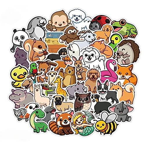 Ligoi 50 Uds Pegatinas De Animales PequeñOs De Dibujos Animados Lindo Equipaje Impermeable Taza De Agua Cuaderno Pegatinas De Grafiti Fresco Juguetes