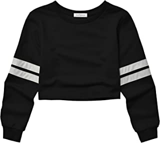 Cropped Sweatshirts for Women, Long Sleeve Cute Crop Top Shirt Cotton Pullover
