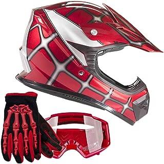 Typhoon Youth Kids Offroad Gear Combo Helmet Gloves Goggles DOT Motocross ATV Dirt Bike MX Spiderman Red, Medium