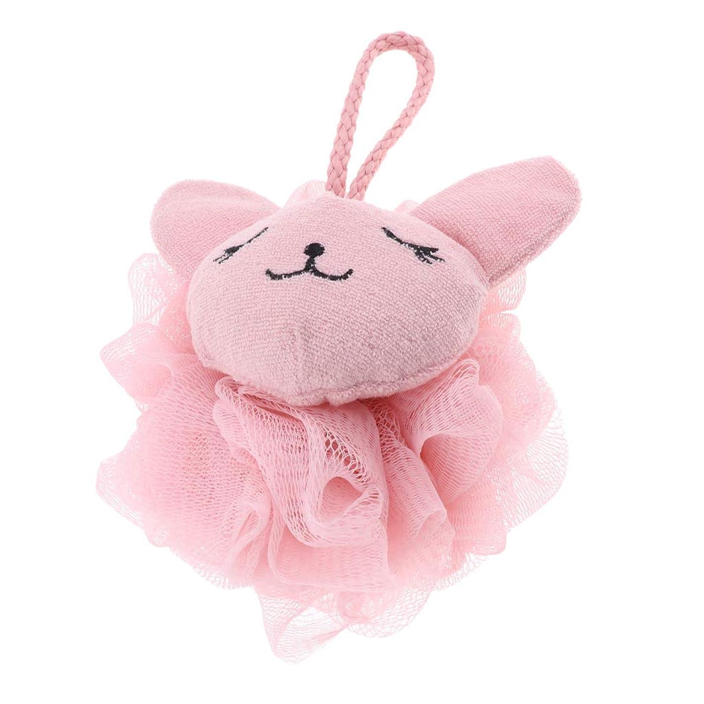 沼地献身旋律的CUTICATE シャワーボール ボディスポンジ 漫画 動物 お風呂 バスグッズ 体洗い 柔らか 快適 全2色 - ピンク