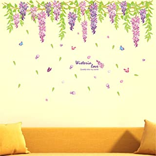 GOUZI Zi Teng Pineapple Flower Sofa Bed Romantic,60*90CM Wall Sticker Removable Wall Sticker for Bedroom Living Room Backg...