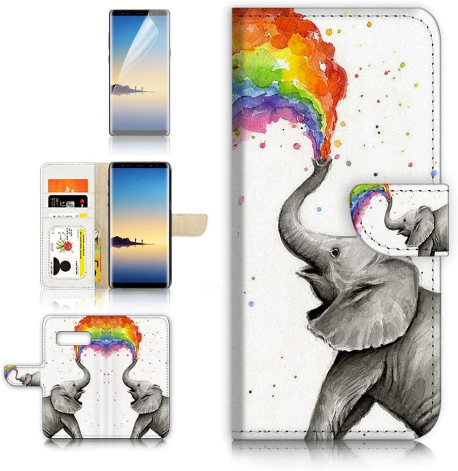 (for Samsung S10+ / Galaxy S10 Plus) Flip Wallet Case Cover & Screen Protector Bundle - A3957 Rainbow Elephant