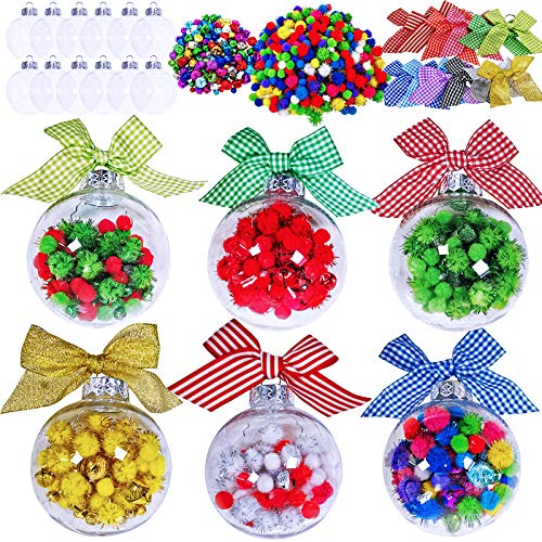 12 Sets Christmas Bulb Ornament Balls Clear Plastic Glass Ball Craft Kit Bauble Ornaments Fillable Unbreakable Shatterproof Hanging Tree Ornaments Jingle Bells Pom-poms Bows Ribbons for Holiday Decor