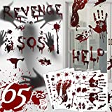 65PCS Halloween Decorations Window Stickers and Zombie Scars Tattoos, Bloody Footprints Floor Clings - Halloween Handprint Zombie Restroom Sign Decals Vampire Party Decorations Stickers Wall Supplies