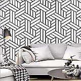 Meaosyy Papier Peint De Style Nordique Ins Tv Fond Noir Et Blanc Plaid Géométrique...