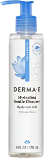 DERMA E Hydrating Gentle Cleanser with Hyaluronic Acid Clinically Proven Gentle Facial Wash for Calming Acne, Sensitive Sk...