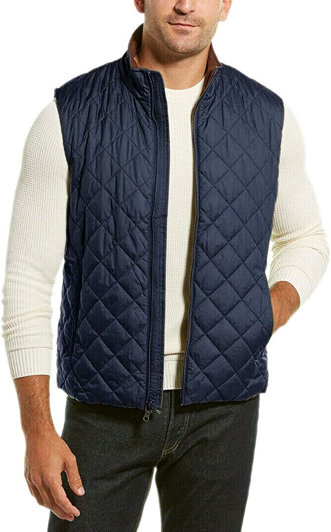 Brooks Brothers Mens 00136216 Thermore Insulated Diamond Quilted Corduroy Collar Vest Jacket Coat Navy Blue (S)