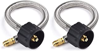 DEDC 12inch Stainless Braided RV Pigtail Propane Hose Connector with Type 1 Connection x 1/4 Inch Inverted Male Flare, 1 Feet, 2 Pack