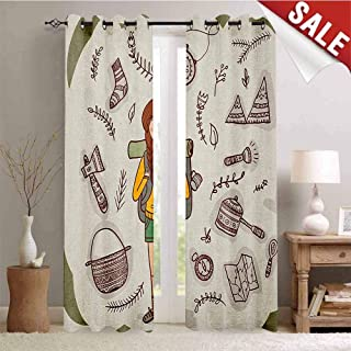 Hengshu Explore Drapes for Living Room Hiker Girl with a Backpack with Doodle Boho Ethnic Ornate Native American Elements Window Curtain Fabric W108 x L108 Inch Multicolor