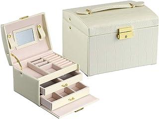 rismart Boîte à Bijoux Verrouillable 3 Couches Rangement Bijoux De Voyage avec Miroir pour Bagues Colliers Bracelets, Beig...