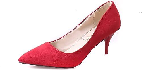 HOESCZS Damenschuhe Herbst Nude Farbe High Heel Stiletto Spitze Schuhe Arbeitsschuhe Pendeln Wildleder Damenschuhe