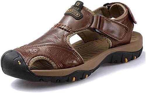 Fuxitoggo Sandales pour Hommes Sport Baotou Outdoor Sandals pour Hommes, Chaussures de Sport, été, Chaussures de Plage, Chaussures de Plage en Cuir, randonnée (Couleuré   2, Taille   44)